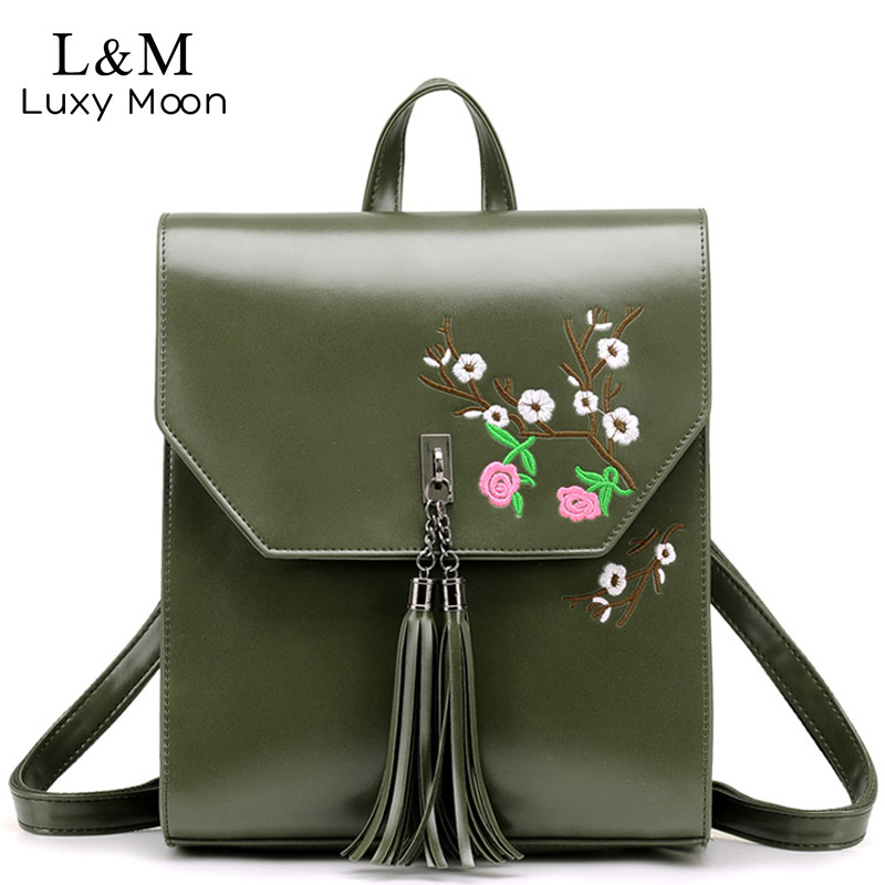 Women Backpack Vintage Floral Embroidery Backpacks High Quality PU Leather Teenage Girls School Shoulder Crossbody Bags