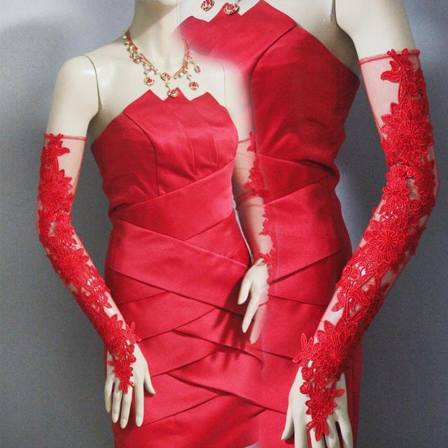 Evening dresses red lace gloves