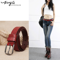 Fashion Men's and Women's Printed Leather Belts Luxury Red White Black High Quality Metal Alloy Pin Buckle Genuine Vintage Belt