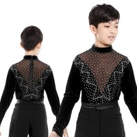 High Neck Mesh&Velvet Latin Competition Dance Costumes Boys Tango Samba Modern Ballroom Latin Shirts For Kids