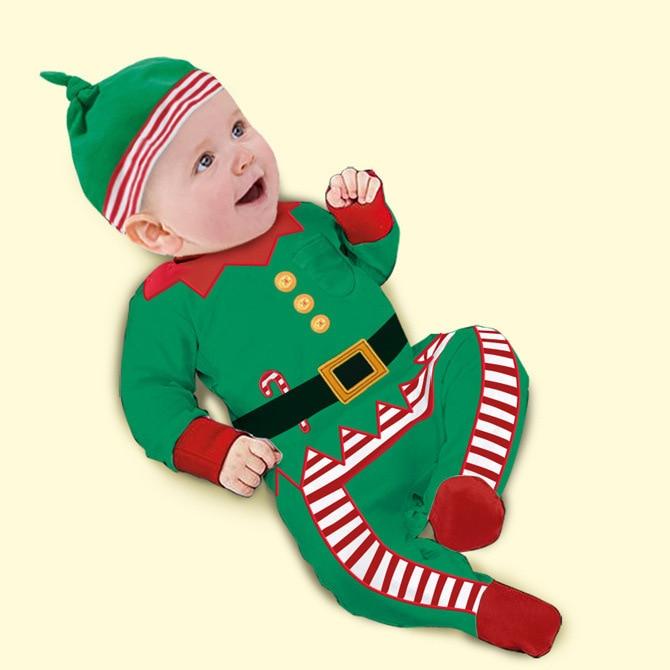 navidad mamelucos del beb una pieza trajes kids otoo primavera de manga larga de la ropa del desgaste hat