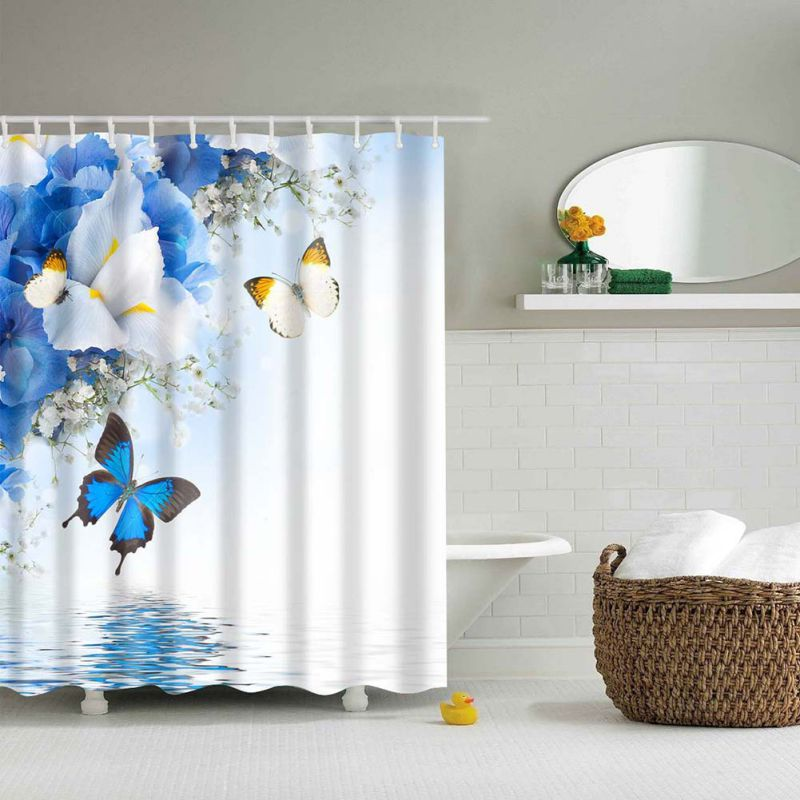 Shower Curtain Flower Printed Mildew-Free Water-Repellent Fabric ...