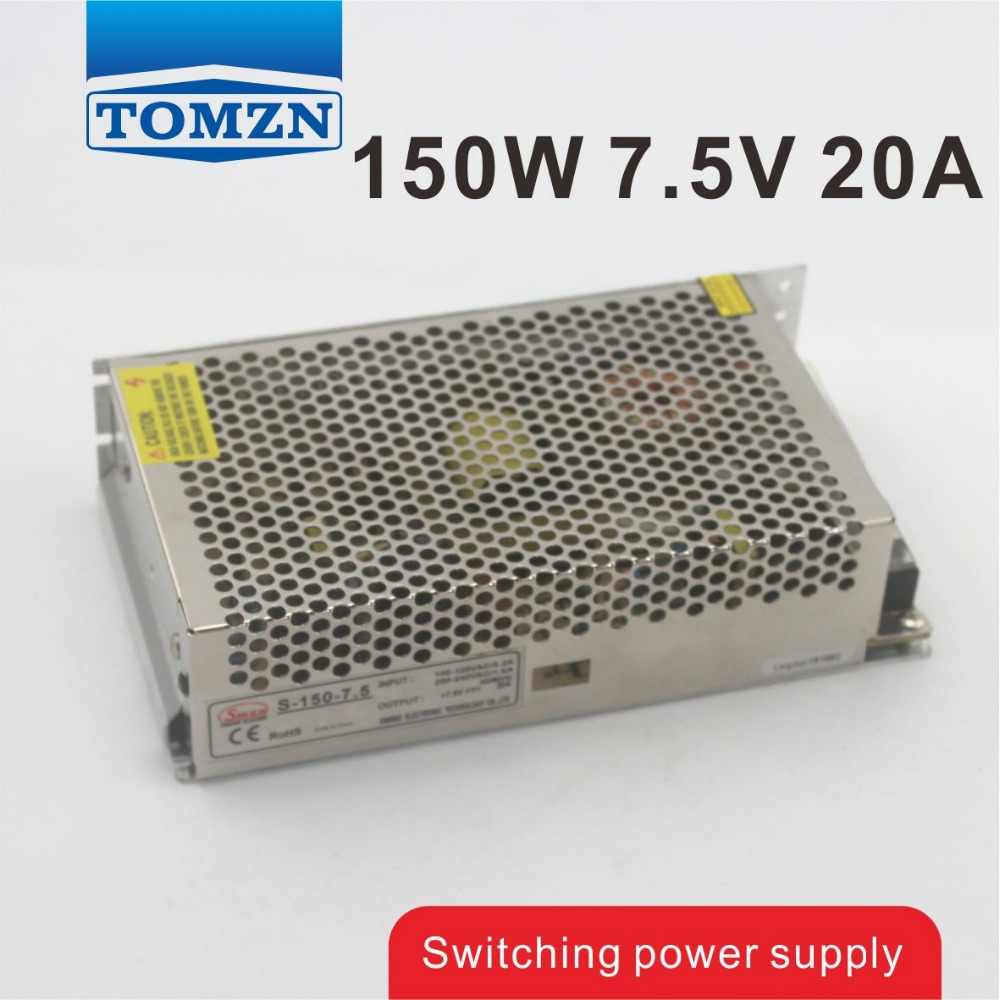 150W 7.5V 20A Single Output Switching power supply for LED Strip light AC to DC best quality 12v 15a 180w switching power supply driver for led strip ac 100 240v input to dc 12v