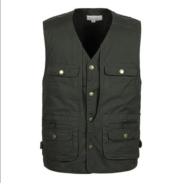 XL-4XL 2016 Mens Work Vest Spring Autumn Multi-Pockets Photography Vests Reporter Director Shooting Military Vest A801