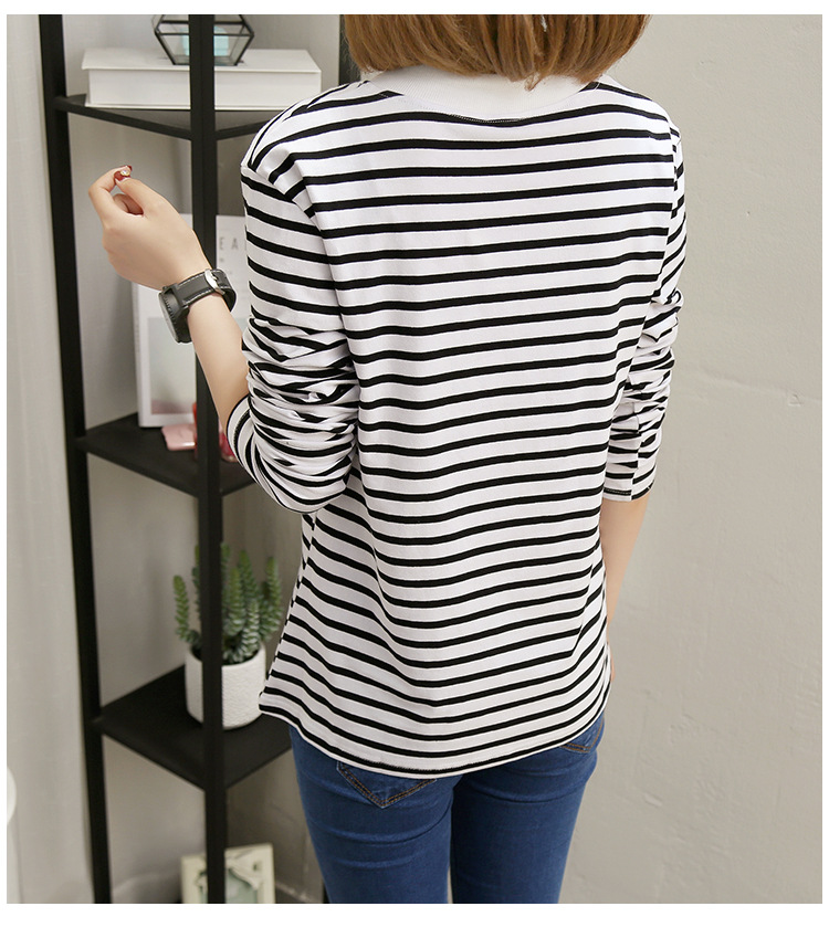 NFIVE Brand 2017 Women's Stripe Loose T-shirts Korean Autumn New Long Sleeved Large Size Shirt Quality Fashion Cotton T-shirt 26