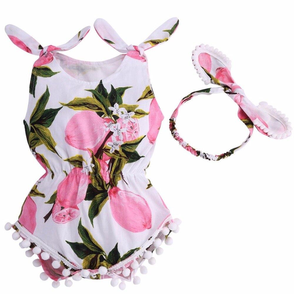 2017 Cotton Infantil Baby Girl Romper Headband Set;Elastic Waist Newborn Baby Clothes Suit Baptism Para Bebe Roupas Playsuit