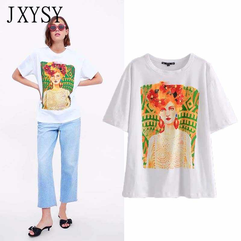 JXYSY 2019 t-shirt women england style vintage cartoon character printing o-neck cotton t shirt women tops
