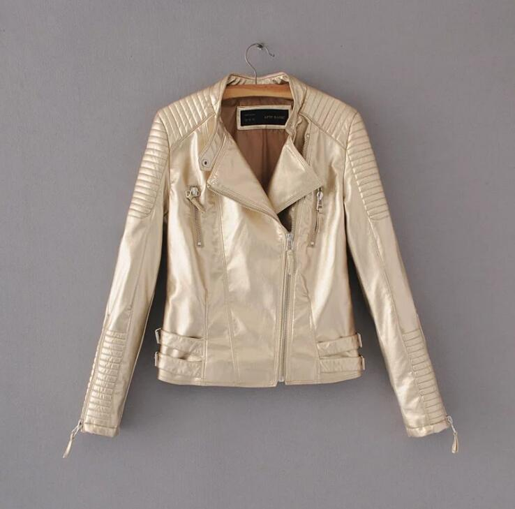 Shining Golden   Leather   Jacket Women Metal circle Moto Coat Punk Rock Faux Jacket jaquetas couro Casaco chaquetas Show Jacket