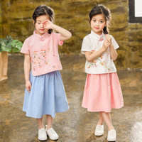 2PCS Girl Clothes Set Chinese Style Kids Summer Clothes Set Baby Girls Fashion Tops Skirt Children