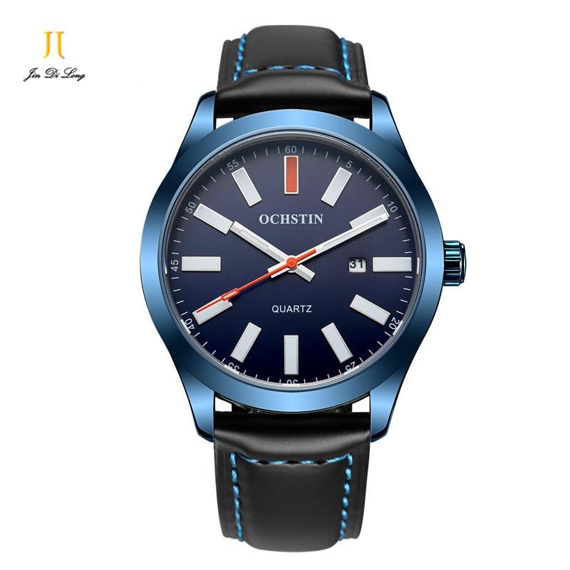 2016 Men s Fashion Waterproof Watch New Arrival Genuine Leather Belt Men Quartz Watch Luminous With