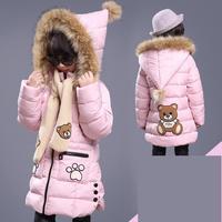 2018 Winter Girls Cotton Down Coat Female Children Long Jacket Warm Thicken Outdoor Hooded Outerwear Student Parkas 10 12 Year