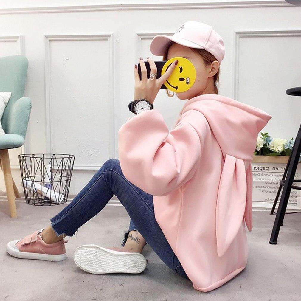 Kawaii Süße Kaninchen Ohren Hoodies Frauen Plus Größe Langarm Baumwolle Trainingsanzug Schlank Pullover Moletom Homewear Femal Sweatshirts