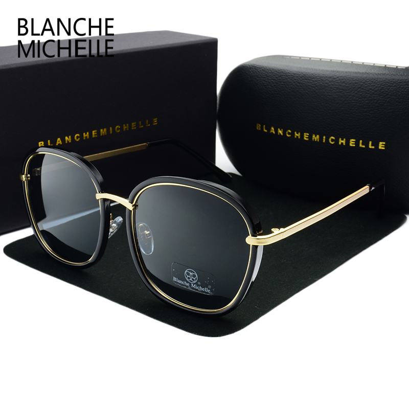 2018 High Quality Square Polarized Sunglasses Women Brand De