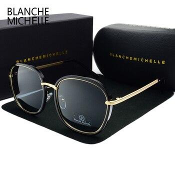 2019 คุณภาพสูง Polarized Square แว่นตากันแดดผู้หญิงยี่ห้อ Designer UV400 Sun แว่นตาทองกรอบแว่นตากันแดดกระจกสีชมพูก...