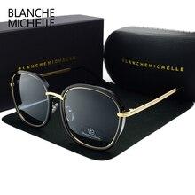 2019 عالية الجودة مربع الاستقطاب النظارات الشمسية المرأة العلامة التجارية مصمم UV400 نظارات شمسية الذهب الإطار مكبرة مرآة الوردي مع مربع