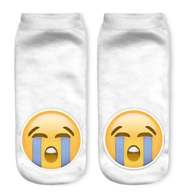 Feitong 1 par verano blanco calcetines Emoji patrones Funny algodón ...
