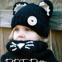Cat Shape Crochet Hooded Baby Scarf Winter Cute Warm Children Cat Neck Warp Head Scarf And