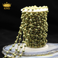 5meters Frosted Pearl Chains Fashion Jewelry,6mm Yellow Green Pearl Shell Round Beads Rosary Chain,Matted Pearl Findings ZJ217 4