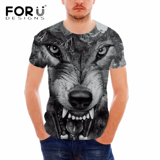 Forudesigns Wholesale Weed 3d Wolf Tattoo Printing Cool For Men Top