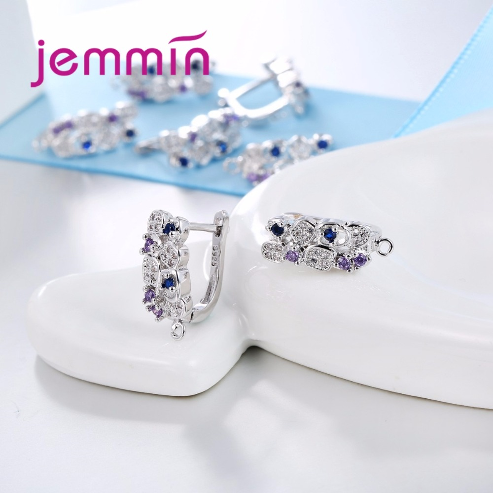 Jemmin S925 Slterling Sliver Earrings Inlay Fargeløs Micro Crystal - Fine smykker - Bilde 4