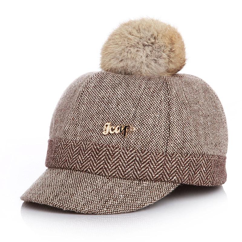 Kid's Fur-top Tweed Baseball Cap - Coffee