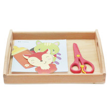 Montessori Educational Wooden Toys For Children Paper Cutting Practical Life Montessori Toys Learning Juguetes Montessori B1586T