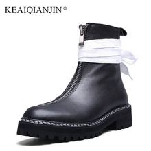 KEAIQIANJIN Woman Gothic Shoes Autumn Winter Zipper Motorcycle Boots Martin Fashion Personality Genuine Leather Ankle Boots 2017