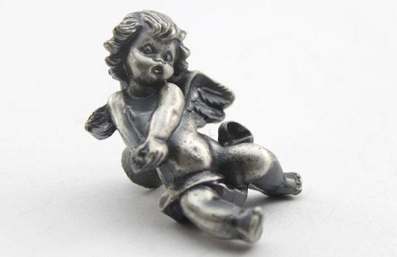 Chique cômoda botão puxador de gaveta puxadores puxa alças de prata antigo anjo de botão de punho de decoração de casa
