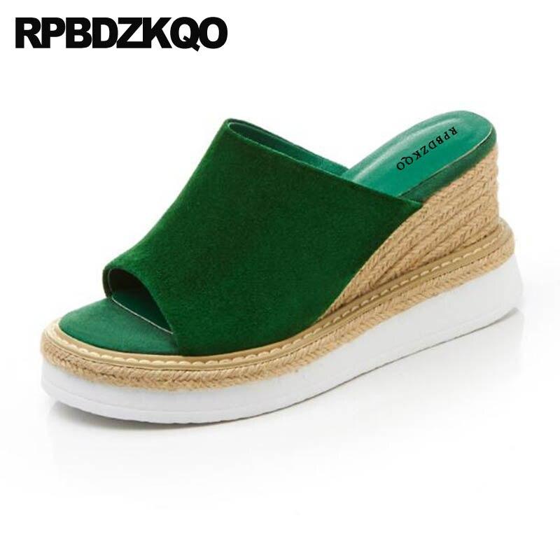 Slip On Green Suede Espadrilles Open Toe Ladies High Heels Shoes Rope Slides Pumps Designer Spring Women Wedge Platform Sandals
