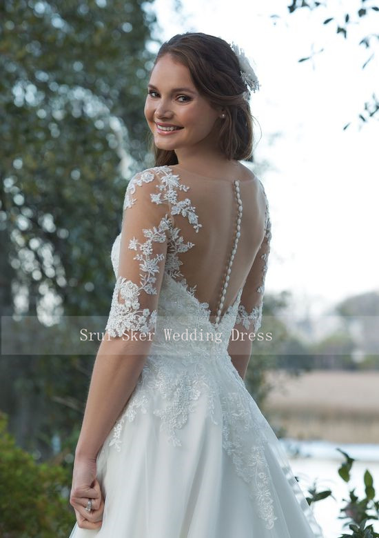 Beautiful Wedding Dress Organza Satin A-Line Gown with Illusion Sleeves and Lace Appliques Custom Made Bridal Dresses