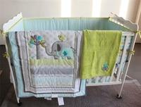 Infant 5pcs Bedding Set Elephant Baby Crib Nursery Quilt Skirt Sheet Bumper Gift Baby Bedding Set