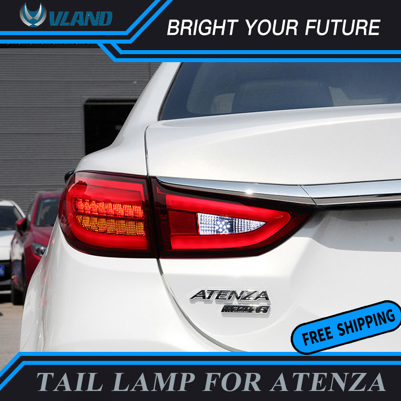 Modified LED Strip Rear Lamps for MAZDA 6 Atenza M6 Tail Light DRL+Brake+Park+Sign Tail Lamp