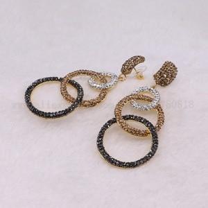 Image 3 - 5 Pairs להתנדנד עגילי כפול מעגל עגיל פייב חרוזים סיטונאי תכשיטי עגילי מתנה עבור נשים סיטונאי עגילי 3250