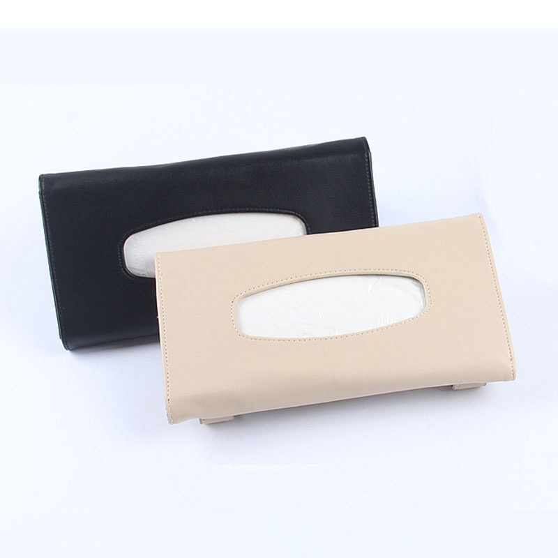 Black Beige Car PU Leather Car-styling Tissue Box Case High Grade Napkin Paper Auto Interior Decoration Accessories partol removable car tissue box car sun visor tissue paper holder cartoon auto seat back armrest hanging paper napkin container