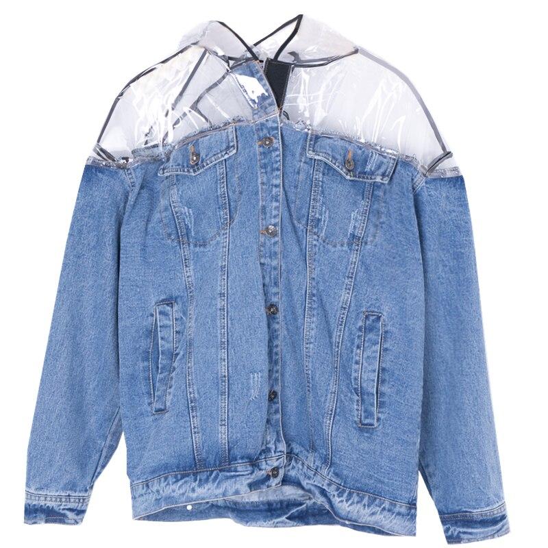 Hip Hop Vintage Worn BF Wind Denim Jacket Women Cut Transparent Raincoat Hooded Stitching Loose Denim Jacket