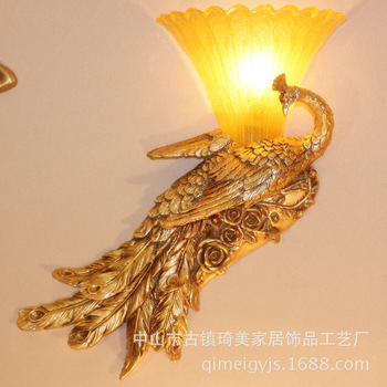 Wall Lamps Indoor Lighting European LED lamp wall lamp retro bedroom balcony peacock styling resin wall lamp Home decoration