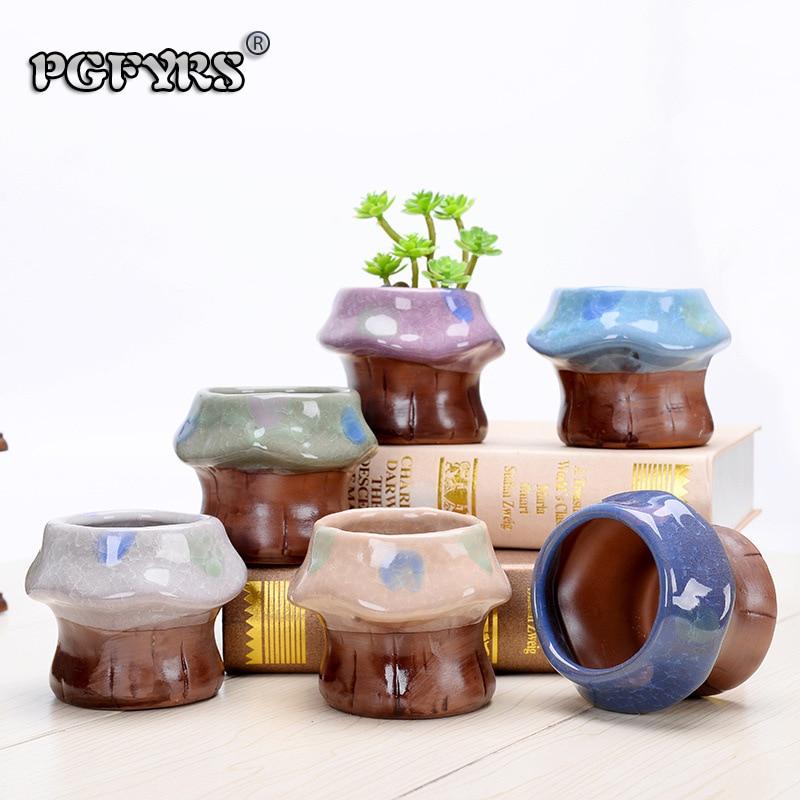 2019 nouveau 6 pièces idées cadeaux intéressantes mini-champignons en céramique pots pour plantes bonsaï pot jardinières pour plantes succulentes style de bureau