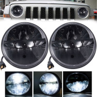 Pair 7 Round LED Headlights Hi/Lo Beam Lamp 36W For Hummer Jeep Wrangler CJ TJ JK
