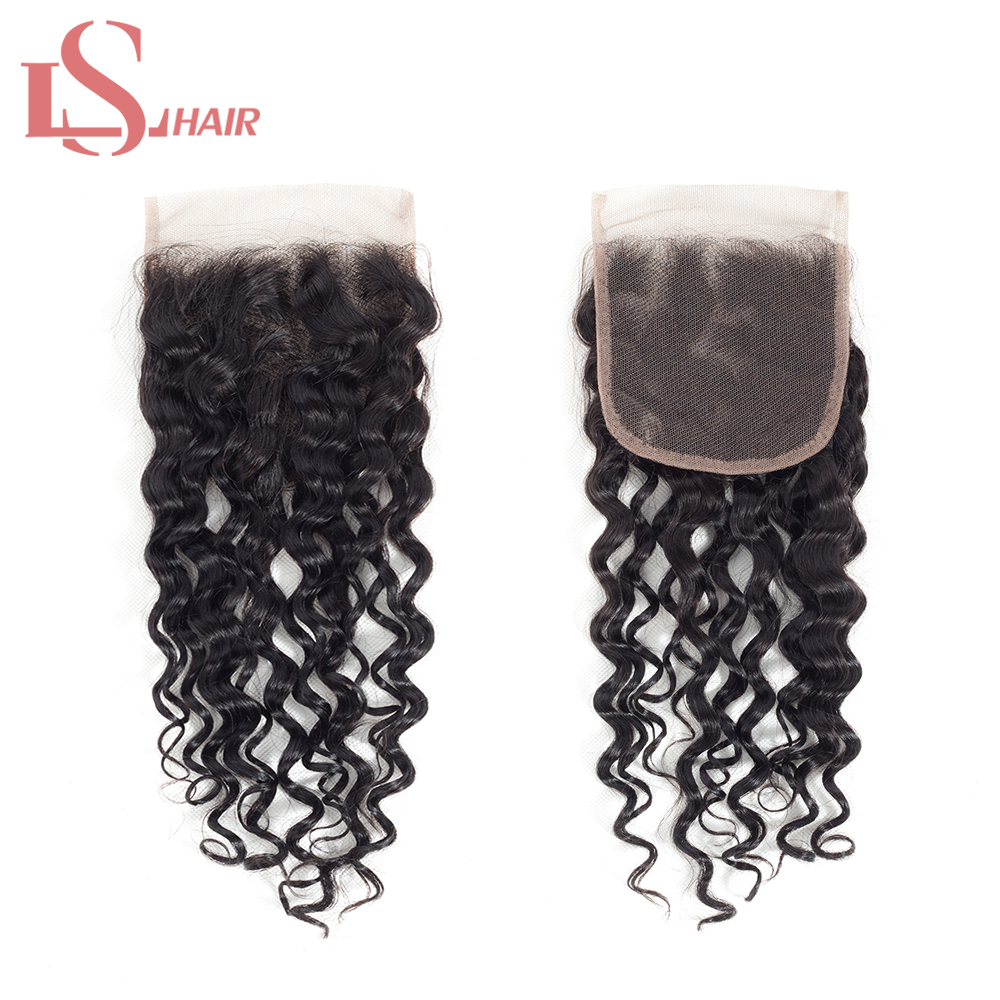 LS Hair Brazilian Water Wave Closure Middle Part With Baby Hair 4*4 Human Hair Swiss Lace Closure Bleached Knots Remy Hair(China)