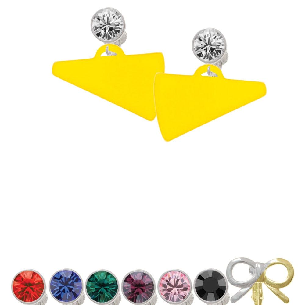 "Acrylic 1.25"" Yellow Megaphone Crystal Clip On Earrings"