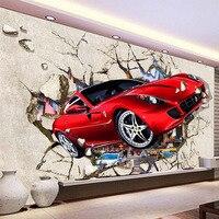 3D разбитая стена красный автомобиль Настенные обои современный креативный дети спальня гостиная самоклеящаяся Водонепроницаемая холщова...