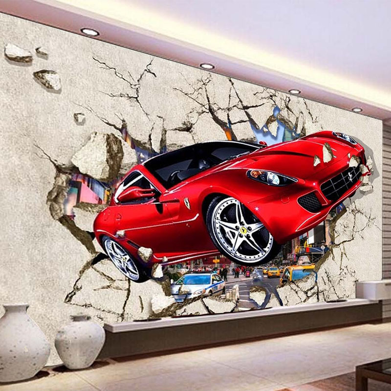 3D Broken Wall Red Car Mural Wallpaper Modern Creative Kids Bedroom Living Room Self-Adhesive Waterproof Canvas Photo Wall Paper