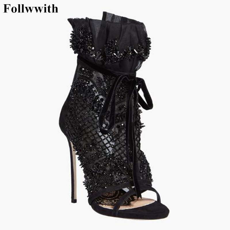 2018 Luxury Black Crystal Mesh Lace Up Thin High Heel Summer Boots Women Peep Toe Sandals Ankle Boots Ankle Bandage Shoes summer hot black mesh patchwork women open toe sandals ankle lace up ladies gladiator high heel zipper back dress shoes stiletto