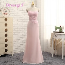 Dressgirl 2017 Cheap Bridesmaid Dresses Under 50 Mermaid Sweetheart Floor Length Pink Chiffon Lace Wedding Party Dresses