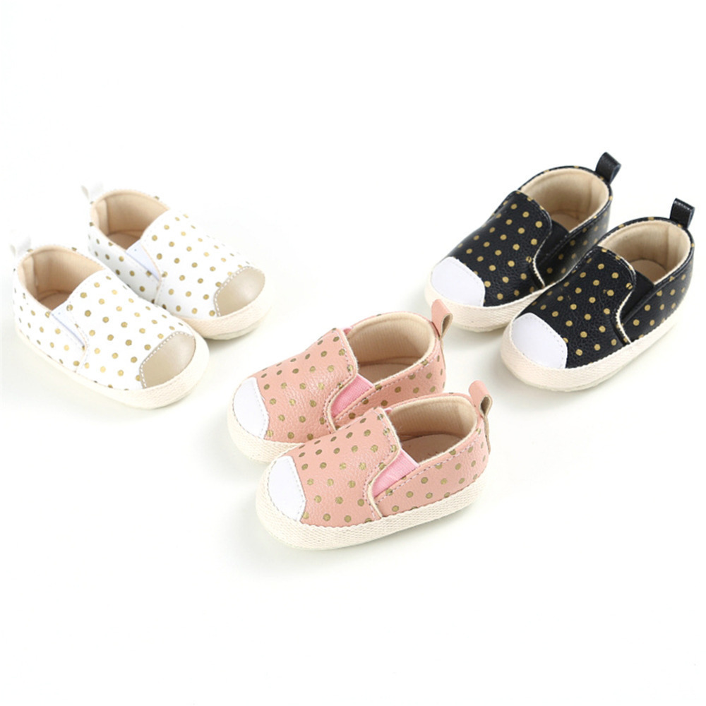 Infants Prewalkers Baby Boy Girl Soft Sole Crib Shoes Wave point Casual Anti-slip First Walkers 0-18M