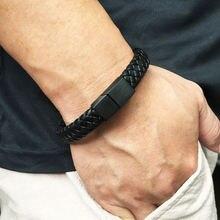 Панк мужской кожаный браслет черный/коричневый браслеты ювелирные