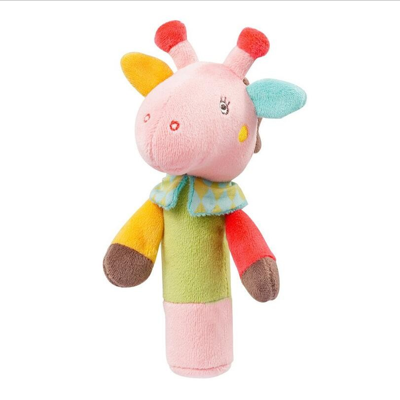 Baby Toys Soft Rattles Handbell Rings Toys BIBI Bar Deer Owl Animal Squeaky Plush Doll Toys For Girls Pram Appease Toy