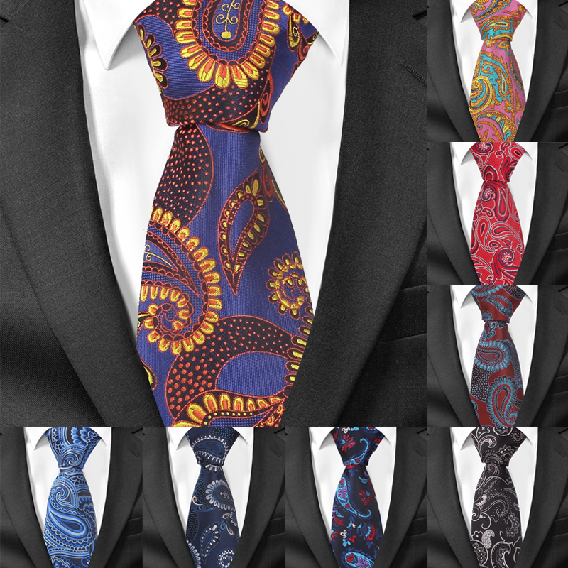 Fashion 8 Cm Width Men Ties Business Paisley Necktie Gravatas Wedding Groom Neck Tie Cravat Polyester Jacquard Necktie For Gifts