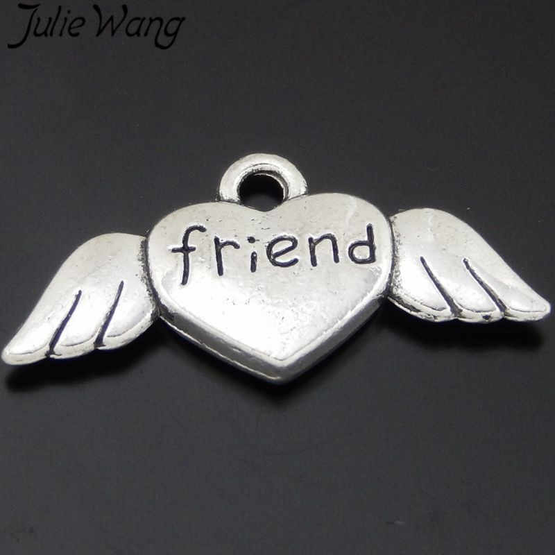 """Julie Wang 10PCS Antique Silver """"friend"""" Heart Wings Alloy Charms Friendship gift Pendants Jewelry Makings Necklace Accessory"""