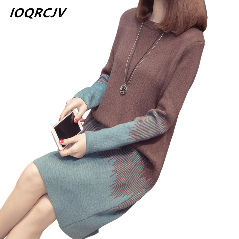 2019 Autumn Winter Sweater Dress Women Pullover Knit Sweater Large Size Loose Long Sleeves Women Tops Bottom Sweater Dress S180